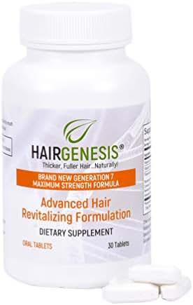 Hair Genesis® Advanced Hair Formula Oral Tablets, 30 tablets - Biotin Hair Growth Tablets for Men & Women - Anti Hair Loss Pills to Reverse Thinning Hair & Fine Hair - 100% Safe, All Natural Hair Grow