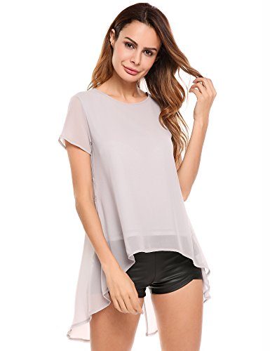 Meaneor Women's Short Sleeve Ruffle Loose Trim Casual Blouse T-shirt Tops Grey M - Layered Look Ruffle Trim