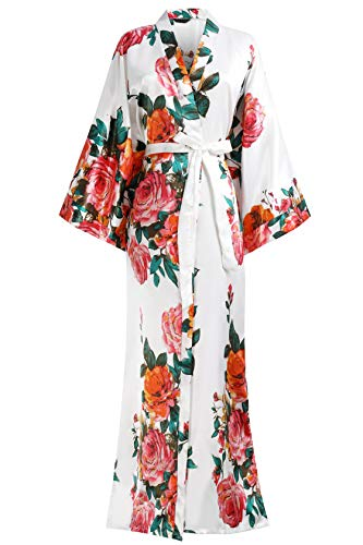 "BABEYOND Kimono Robe Long Floral Bridesmaid Wedding Bachelorette Party Robe 53"" (White)"