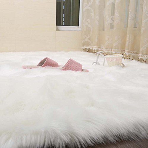 Cuteshower Serene Super Soft Faux Fur Rug Kids Carpet with Fluffy Thick Used As An Area Rugs in Bedroom 5ft x 5.6ft, White (Furry Rug White)