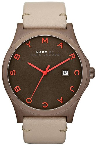 Marc Jacobs Henry Brown Dial Beige Leather Unisex Watch MBM1215
