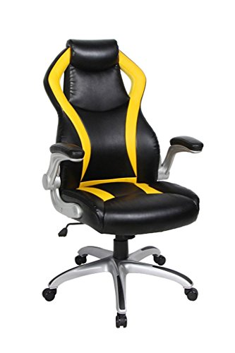 NKV Gaming Chair High Back Racing Ergonomic Computer Chair Video Game Chair Heavy Duty Adjustable Swivel Chair Bonded Leather (Black/Yellow)