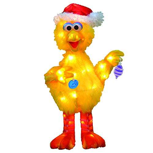 ProductWorks 18-Inch 3D Pre-Lit Sesame Street Big Bird with Ornaments Christmas Yard Decoration, 35 Lights ()