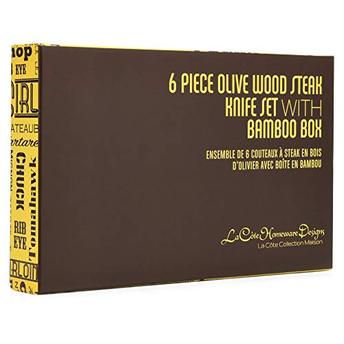 La Cote 6 Piece Steak Knives Set Japanese Stainless Steel Olive Wood Handle In Bamboo Storage Box (Olive Wood) by La Cote Homeware (Image #10)