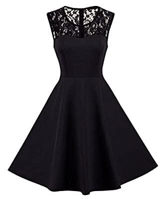 HOMEYEE Women's Vintage Chic Sleeveless Cocktail Party Swing Dress A008