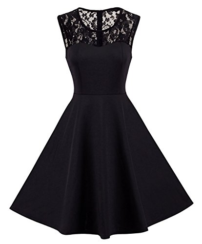 HOMEYEE Women's Vintage Chic Sleeveless Cocktail Party Dress A008 (XL, Black)