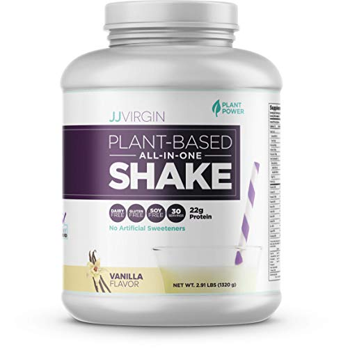 JJ Virgin Vanilla Plant-Based All-in-One Shake - Vegetarian-Friendly Protein Powder (30 Servings, 2.91 Pounds) (2.91 Lb Protein Blend)