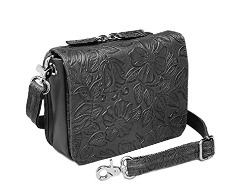 Concealed Carry Purse - Crossbody Organizer by Gun Tote'n Mamas (Tooled Black) -