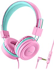 iClever Kids Headphones for School with Microphone - 94dB Volume Control, Wired Headphones for Kids Girls Boys, Adjustable Foldable On-Ear Headphones for Online Learning/iPad/Tablet/Travel, Pink