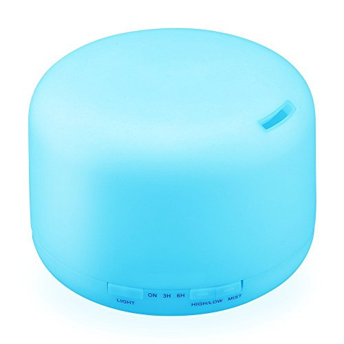 Mfeel 500ml Essential Oils Diffuser, 7 Color LED Light Aroma Diffuser, Large Mist Humidifier,Mini Aromatherapy Diffuser