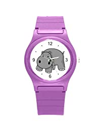 """Kidozooo Boys Girls Cartoon Hippo Wild Animal 1 3/8"""" Diameter Plastic Watch"""