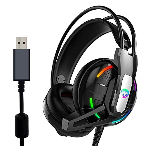 USB Gaming Headset, 7.1 Surround Sound Gaming Headphone with Mic Volume Control LED Light for PC, MAC, iOS Android (Black)