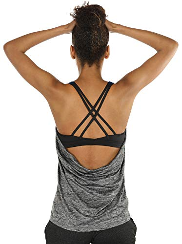 icyzone Yoga Tops Workouts Clothes Activewear Built in Bra Tank Tops for Women (S, Charcoal) -