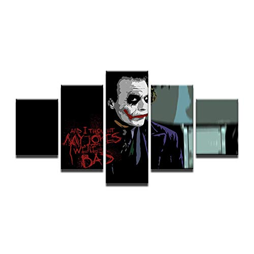 Fbhfbh Clown Evil Man Modern 5Pcs Canvas Paintings Cuadros Decoracion Vintage Christmas Gift Posters and Prints Quotes -4x6/8/10inch,with Frame ()