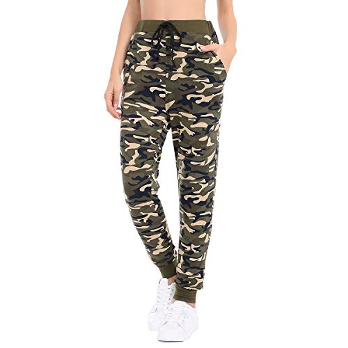 Small Stylish Camo - JTANIB Jogger Pants for Women, Active Lounge Drawstring Waist Yoga Leggings Sweatpants with Pockets,Camo 2,S