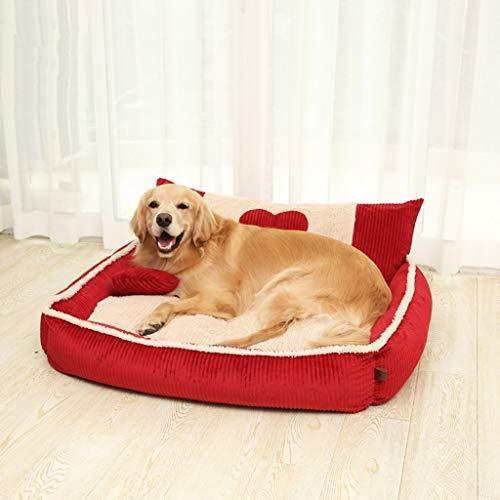 Cama perro Camas para Perros Grandes y Lavables con Almohada roja Duradera Pana Perros Mascotas Cama XL 100x85x30cm: Amazon.es: Hogar