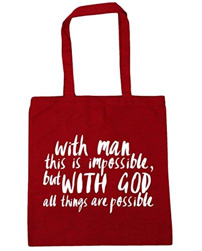 HippoWarehouse con el hombre este es imposible, pero con Dios todas las cosas son posibles Tote Compras Bolsa de playa 42cm x38cm, 10litros Classic Red