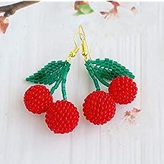 003204678 Frida Kahlo earrings for Women Tassel Fringe Multicolor red Beaded Mexican...  $12.88. Double Red Beaded Cherry Earrings Wholesale Jewelry Dangle Fruit ...