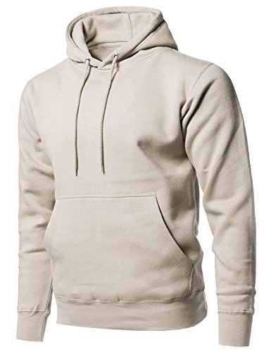 Causal Solid Soft French Terry Long Sleeve Pullover Hoodie Sand XS