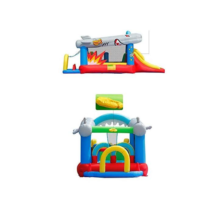 41nNjON7brL El castillo hinchable hará que todos los niños felices, lo que traerá mucha felicidad a sus hijos, pueden compartir el tiempo de juego valioso con los amigos. Tamaño de medios: Oxford tela respetuosa del medio ambiente, de PVC; 570x270x230cm; castillos hinchables, bolsa de agua y 30 bolas juguetes incluidos. ultiple deportes combinados con diseño especial para los ancianos 3-10: escalada, toboganes, área, aro de baloncesto, piscina de bolas y el océano saltando bajo este gorila inflable tiene muchos deportes diferentes que mantendrán chico de 3 años de edad, para encontrar su apretada 10favorito.