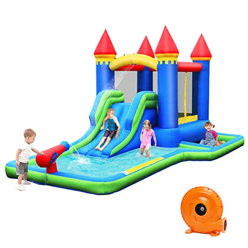 BOUNTECH-Inflatable-Bounce-House-Kids-Castle-Water-Slide-with-Climbing-Wall-Jump-Area-Water-Cannon-Splash-Pool-Including-Oxford-Carry-Bag-Repair-Kit-Stakes-Hose-Ocean-Balls-with-Blower