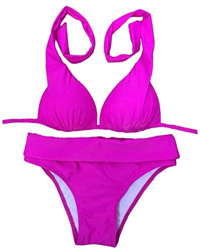 Y&L de las Mujeres 2pcs Conjuntos de Bikini Clásica Empuje hacia Arriba de la parte Superior e Inferior Halter Trajes de baño ropa de playa De 4 Colores Rosa
