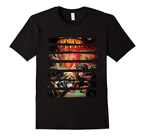 Mens T-Shirt, Dog Gambling Scene, Playing Poker XL (Scene Dog T-shirt)
