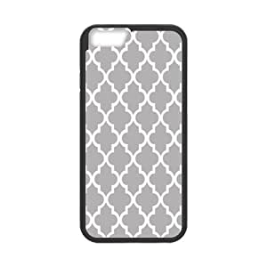 Moroccan Trellis Latticework Quatrefoil Case/Cover FOR Apple iphone 6 4.7 (Laser Technology) - Black/WHITE - Rubber Case