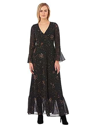 eShakti Women's Ruffle zodiac print georgette faux-wrap maxi dress 3X-24W Short Multi