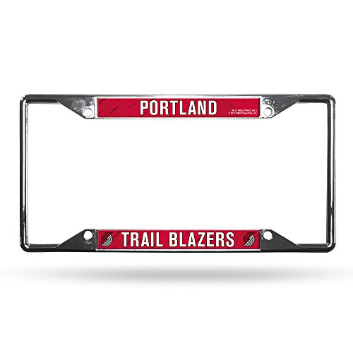 Rico Industries NBA Portland Trail Blazers Easy View Chrome License Plate FrameEasy View Chrome License Plate Frame, Silver, 6-inches x 12-inches ()