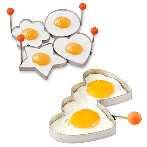 Egg Ring Set Mcmuffin Mold Perfect Fried Egg Cooker Utensils Metal Stainless Steel 304 Molds Heart Flower Round Star Shaped Fun Breakfast English Muffins Molds (4PCS small+ 1 double - Egg Shaped Heart