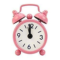 LoXTong Fashion Lovely Cartoon Dial Number Round Desk Alarm Clock For Kid Home Decor PinkyColor (Pink)