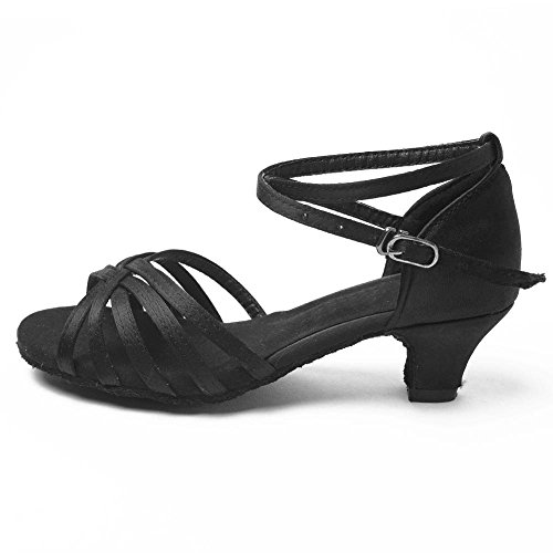 YFF Children Girls Ballroom/Latin Dance Shoes Professional Tango Heeled Salsa Shoes Women ,Black1,8