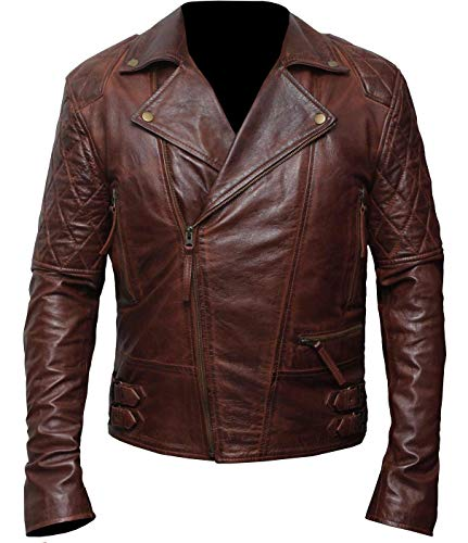 Brando Classic Diamond Quilted Men Vintage Motorcycle Biker Brown Leather Jacket (M/Body Chest 40