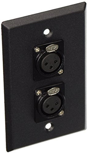 Seismic Audio SA-PLATE3 Black Stainless Steel Wall Plate with Dual XLR Female Connectors ()