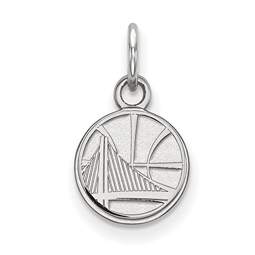 NBA Golden State Warriors Xsmall Logo Pendant in Rhodium Plated Sterling Silver by LogoArt