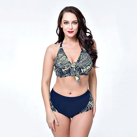 b163701ba5 New Plus Size Bikini Set Bandage Bikini Floral Print Bathing Suit Women  Swimsuit Retro Vintage Swimwear Bandeau Beachwear ,C,54