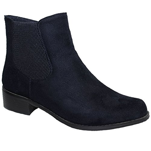 Faux Low GLC541 ® Elasticated Navy Suede Shoes Heel Side Ankle Mezzo BOUTIQUE Boots FANTASIA Ladies XqAppC