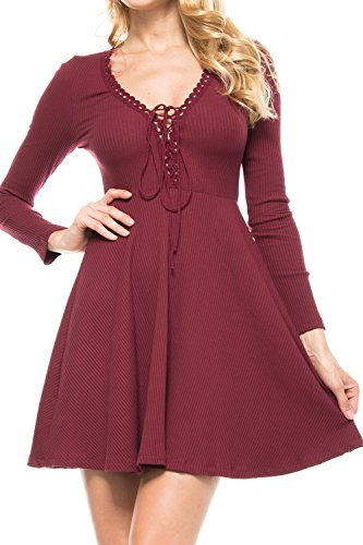 KLKD Women'S Solid Lace Up Fit And Flare Long Sleeve Ribbed Dress Burgundy Small