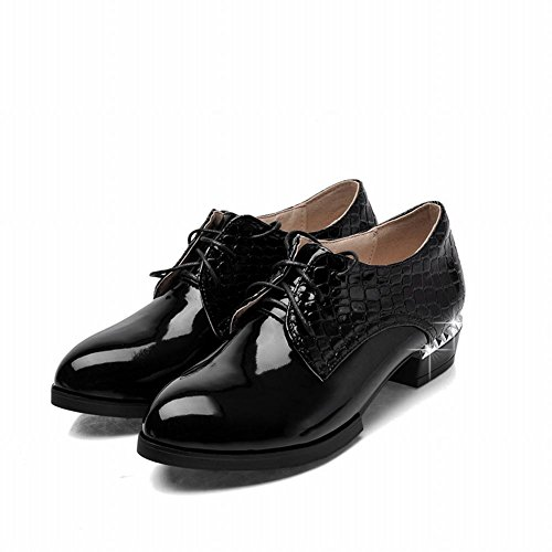 Latasa Damesmode Faux-snakeskin Veterschoenen Oxfords Zwart