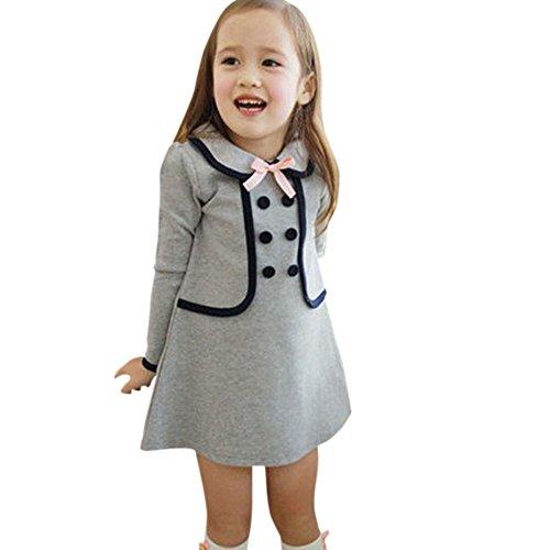 Weixinbuy Kid Girl's Cotton Preppy Style Long Sleeve Pullover Coat Dress