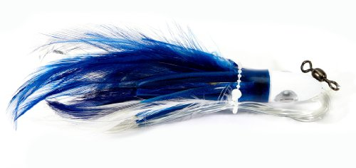 Boone Feather Trolling Double Hook Jig, Blue/White, 6-Inch