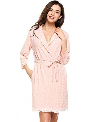 collo cooshional con risvolto pizzo Rose Donna tunica pigiama con vestaglie cintura FqgYTFr
