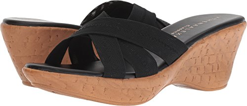Athena Alexander Women's Optima Wedge Sandal, Black Stretch, 7 M US