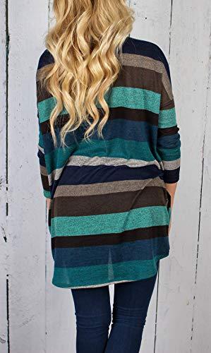 Ourlet Pulls Haut Tunique Shirts T Irrgulier Chandail Rayure Manches Fashion Jumper Automne Bleu Shirts Printemps Sweat Tee Blouses Femme et Longues Casual Legendaryman Rond Tops Col vB06Iqw