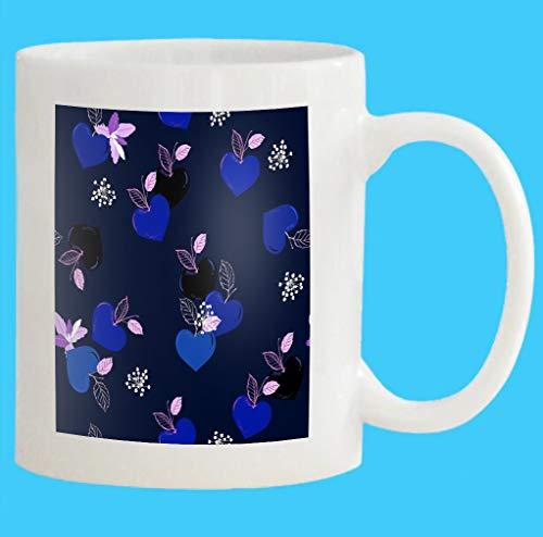 Custom Coffee Mug 11 Oz fruity heart shape seasonal love design fashion fabric wallpaper all prints navy blue Halftone White Ceramic Gifts Tea Cup
