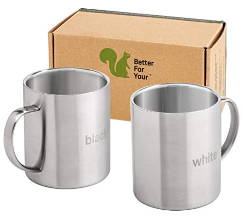 Stainless Steel Coffee Mugs Camping - Double Wall BPA free 13.5oz Metal Coffee Mug - Tea Cup Wide Handle, Fits Popular Coffee Machines - Shatterproof Set of 2 Cups with Laser Words Black & White (Stainless Steel Mug Set)