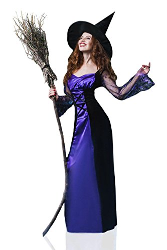 La Mascarade Women's Classic Witch Sorceress Enchantress Dress Up & Role Play Halloween (Glamorous Witch Halloween Makeup)