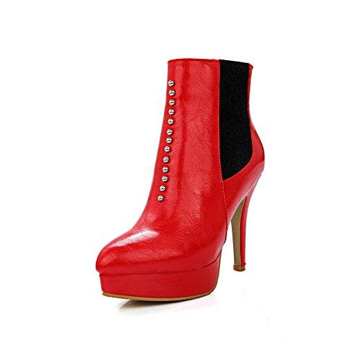AllhqFashion Damen Weiches Material Niedrig-Spitze Reißverschluss Stiletto Stiefel Rot
