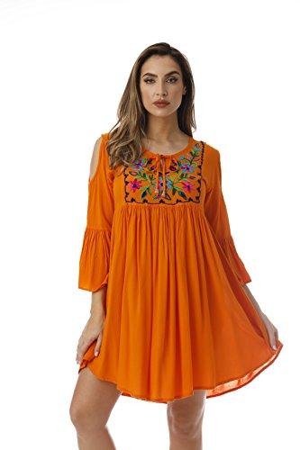Riviera Sun Cold Shoulder Embroidered Short Dress with 3/4 Sleeve 21827-ORG-M Orange - Orange Floral Tunic